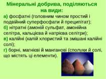 а) фосфатні (головним чином простий і подвійний суперфосфати й преципітат); б...