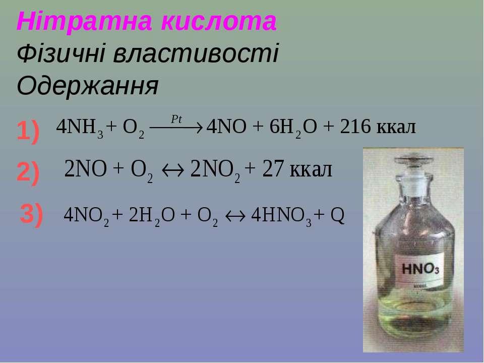 Нітратна кислота Фізичні властивості Одержання 1) 2) 3)