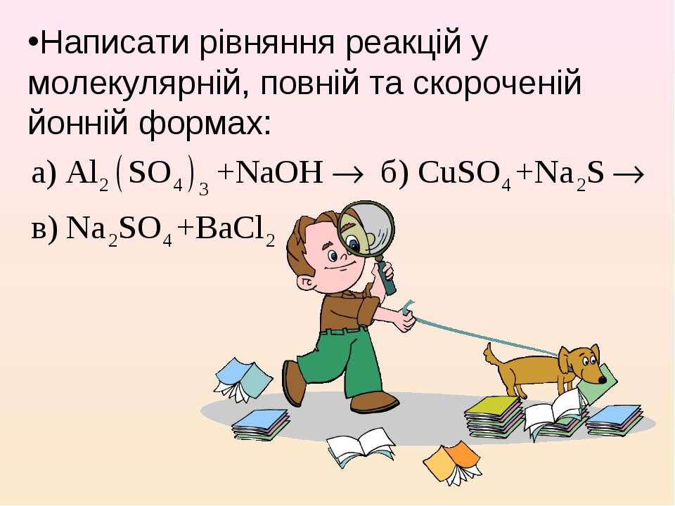 Написати рівняння реакцій у молекулярній, повній та скороченій йонній формах: