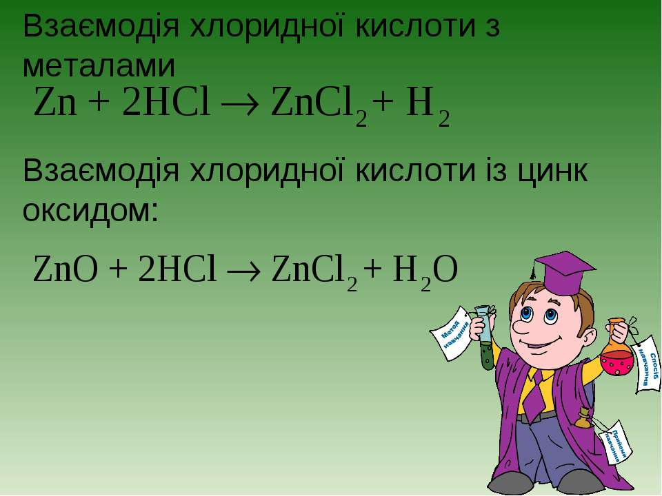 Взаємодія хлоридної кислоти з металами Взаємодія хлоридної кислоти із цинк ок...