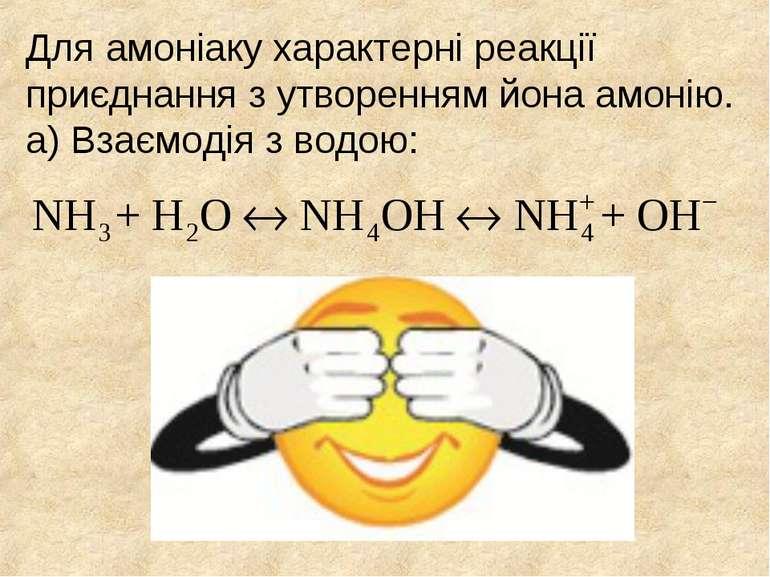 Для амоніаку характерні реакції приєднання з утворенням йона амонію. а) Взаєм...