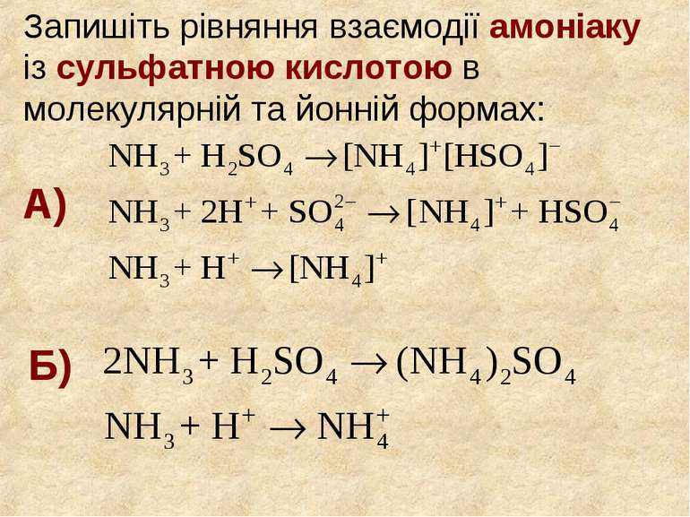 Запишіть рівняння взаємодії амоніаку із сульфатною кислотою в молекулярній та...
