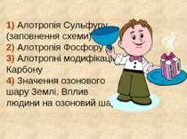 1) Алотропія Сульфуру (заповнення схеми) 2) Алотропія Фосфору 3) Алотропні мо...