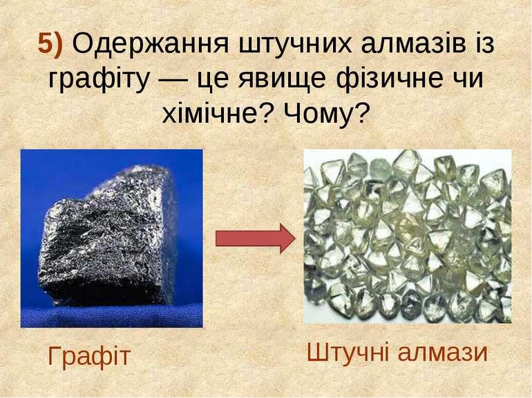 5) Одержання штучних алмазів із графіту — це явище фізичне чи хімічне? Чому? ...