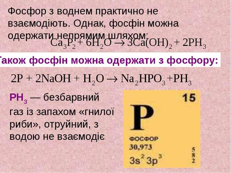 Фосфор з воднем практично не взаємодіють. Однак, фосфін можна одержати непрям...