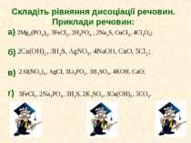 Складіть рівняння дисоціації речовин. Приклади речовин: а) б) в) г)