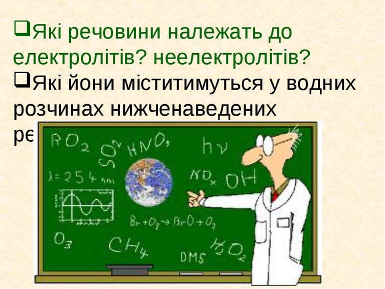 Які речовини належать до електролітів? неелектролітів? Які йони міститимуться...