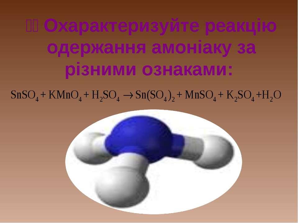 Охарактеризуйте реакцію одержання амоніаку за різними ознаками: