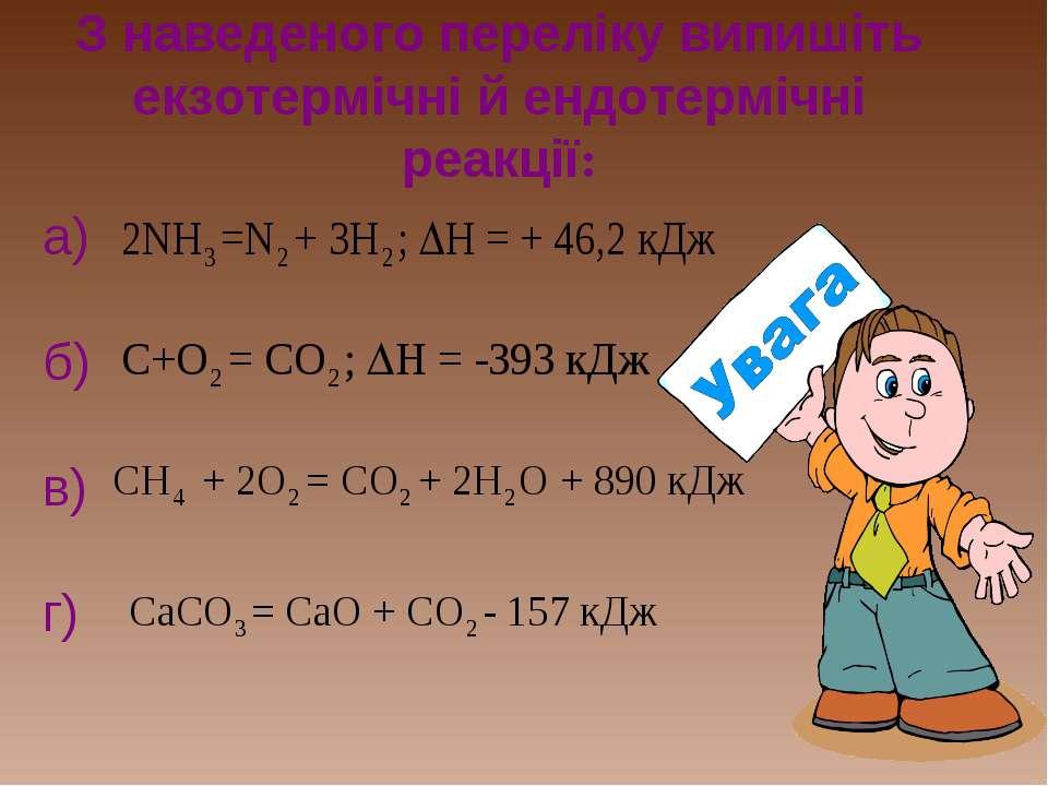 З наведеного переліку випишіть екзотермічні й ендотермічні реакції: а) б) в) г)