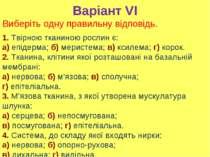 Варіант VI 1. Твірною тканиною рослин є: а) епідерма; б) меристема; в) ксилем...