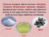 Оксиген утворює хімічні зв'язки з Натрієм, Хлором, Нітрогеном і Цинком. Запиш...