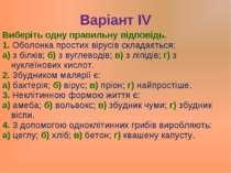 Варіант ІV Виберіть одну правильну відповідь. 1. Оболонка простих вірусів скл...