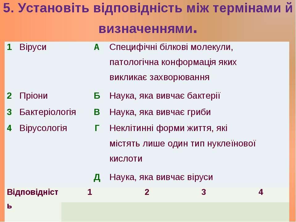 5. Установіть відповідність між термінами й визначеннями. 1 Віруси А Специфіч...