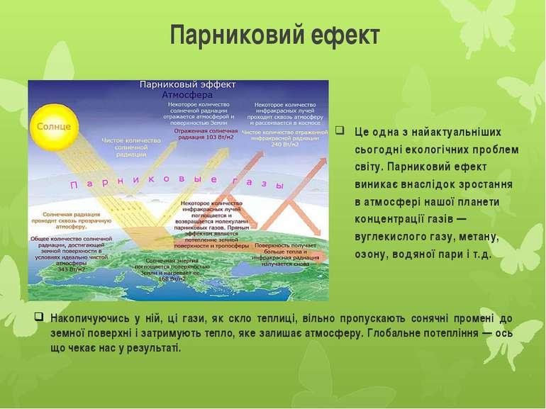 Парниковий ефект Це одна з найактуальніших сьогодні екологічних проблем світу...