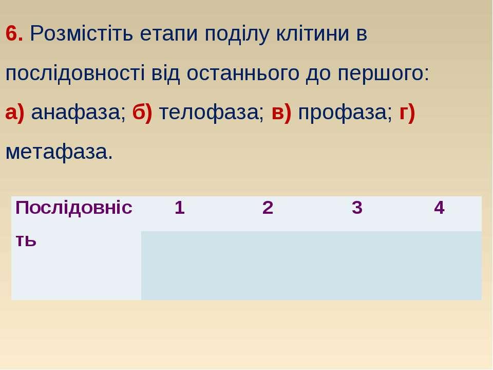 6. Розмістіть етапи поділу клітини в послідовності від останнього до першого:...