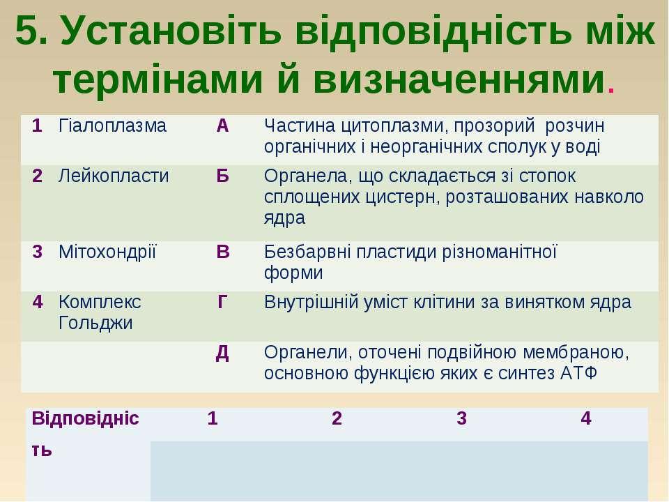 5. Установіть відповідність між термінами й визначеннями. 1 Гіалоплазма А Час...