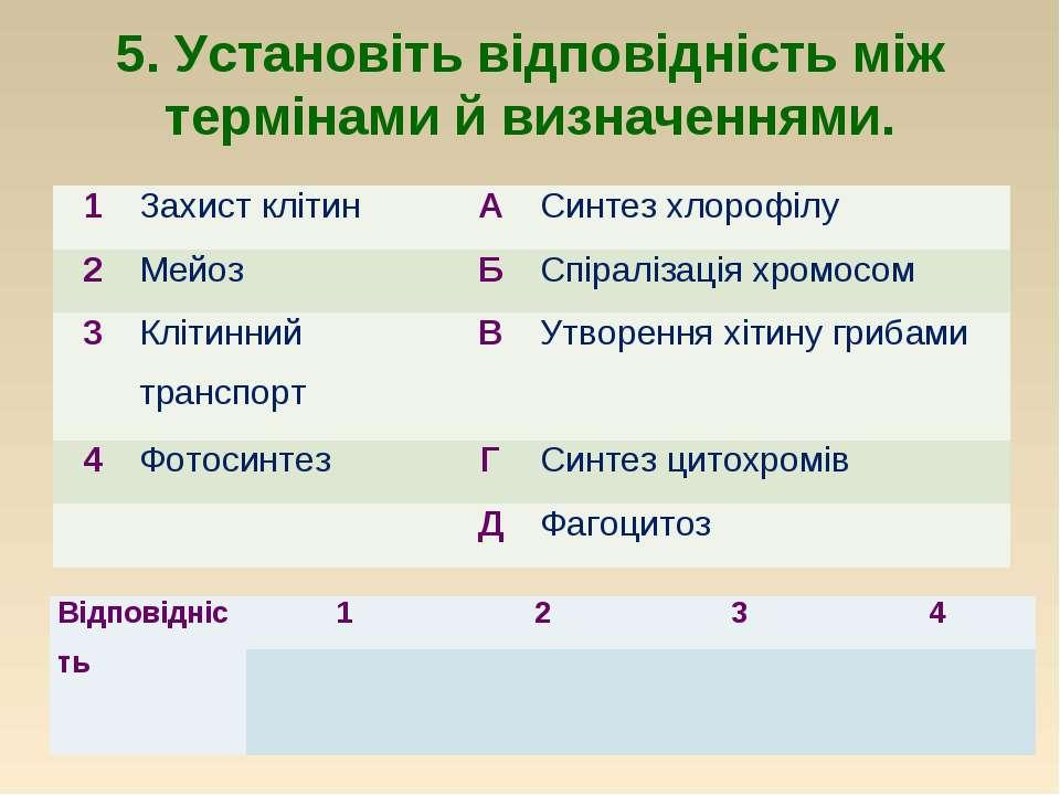 5. Установіть відповідність між термінами й визначеннями. 1 Захист клітин А С...