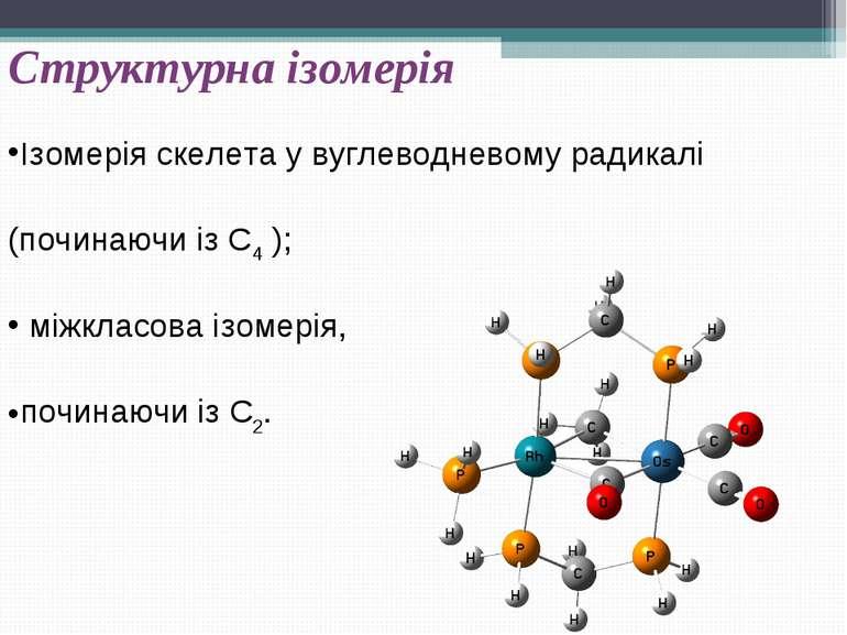 Структурна ізомерія Ізомерія скелета у вуглеводневому радикалі (починаючи із ...