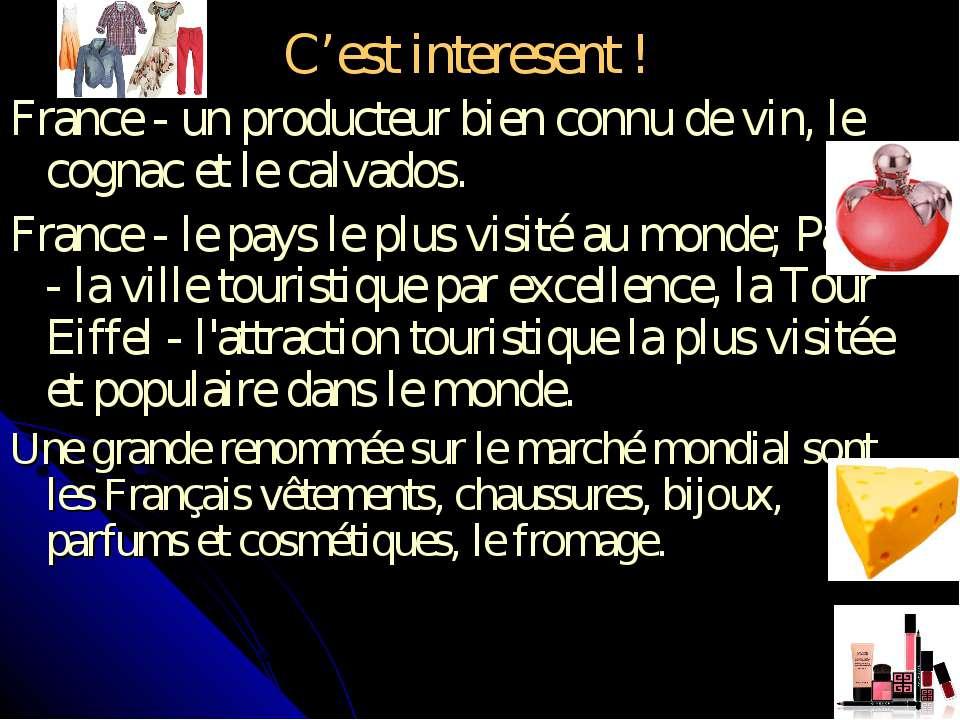 C'est interesent ! France - un producteur bien connu de vin, le cognac et le ...