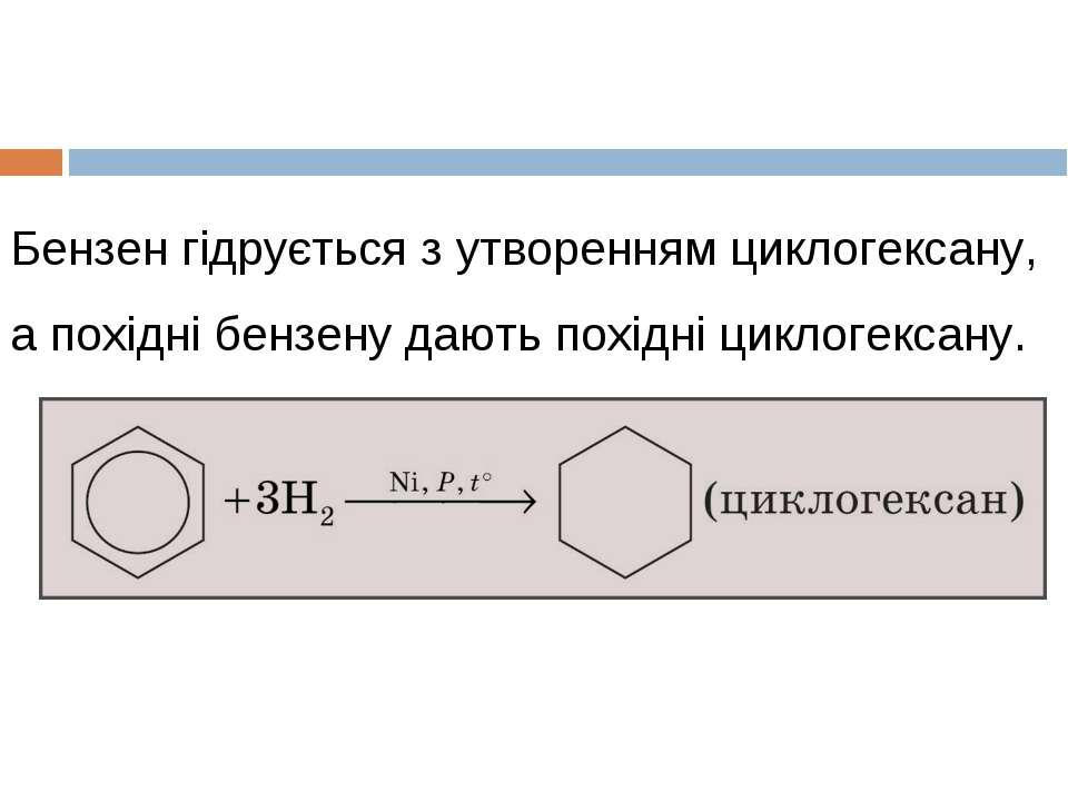 Бензен гідрується з утворенням циклогексану, а похідні бензену дають похідні ...
