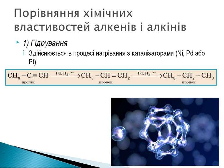 1) Гідрування Здійснюється в процесі нагрівання з каталізаторами (Ni, Pd або ...