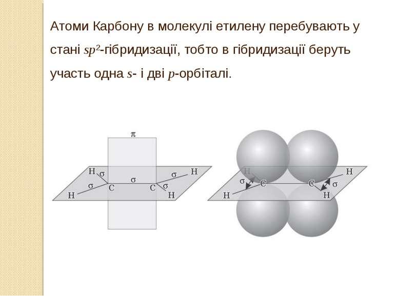 Атоми Карбону в молекулі етилену перебувають у стані sp2-гібридизації, тобто ...