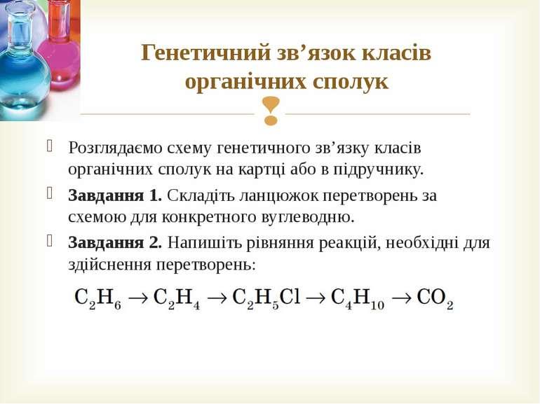 Генетичний зв'язок класів органічних сполук Розглядаємо схему генетичного зв'...