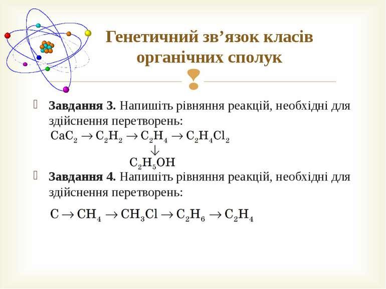 Генетичний зв'язок класів органічних сполук Завдання 3. Напишіть рівняння реа...