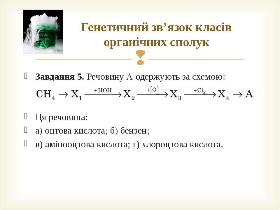 Генетичний зв'язок класів органічних сполук Завдання 5. Речовину А одержують ...