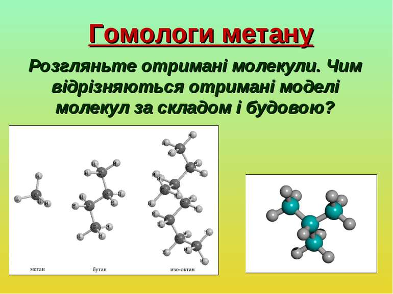 Гомологи метану Розгляньте отримані молекули. Чим відрізняються отримані моде...