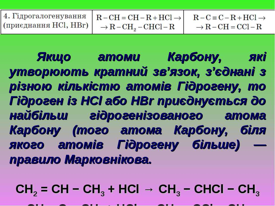 Якщо атоми Карбону, які утворюють кратний зв'язок, з'єднані з різною кількіст...