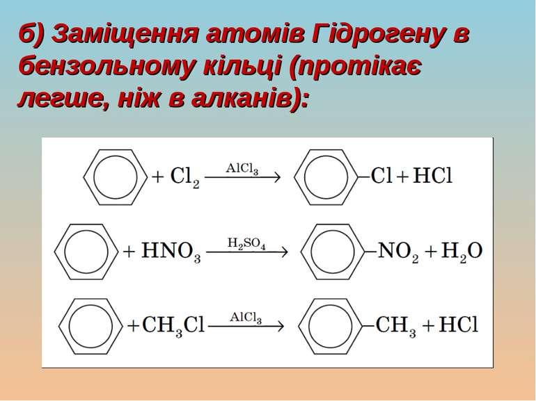 б) Заміщення атомів Гідрогену в бензольному кільці (протікає легше, ніж в алк...