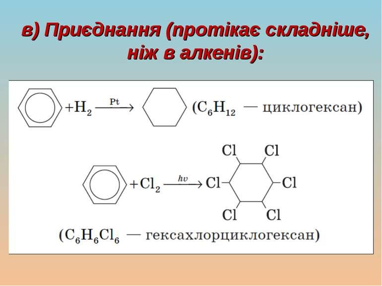 в) Приєднання (протікає складніше, ніж в алкенів):