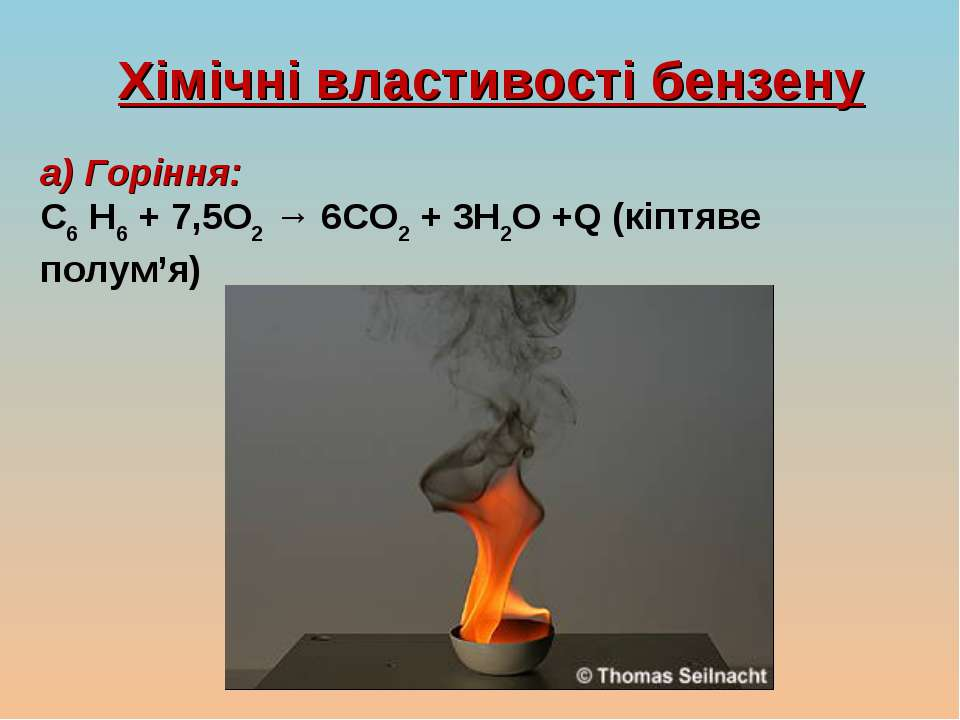 Хімічні властивості бензену а) Горіння: C6 H6 + 7,5O2 → 6CO2 + 3H2O +Q (кіптя...