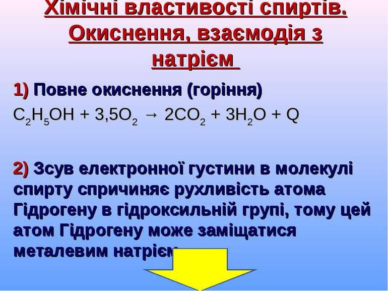 Хімічні властивості спиртів. Окиснення, взаємодія з натрієм 1) Повне окисненн...