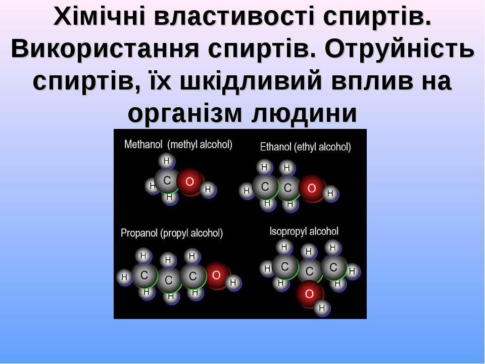 Хімічні властивості спиртів. Використання спиртів. Отруйність спиртів, їх шкі...