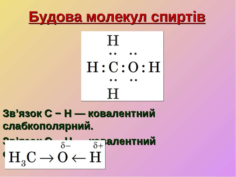 Будова молекул спиртів Зв'язок C − H — ковалентний слабкополярний. Зв'язок O ...