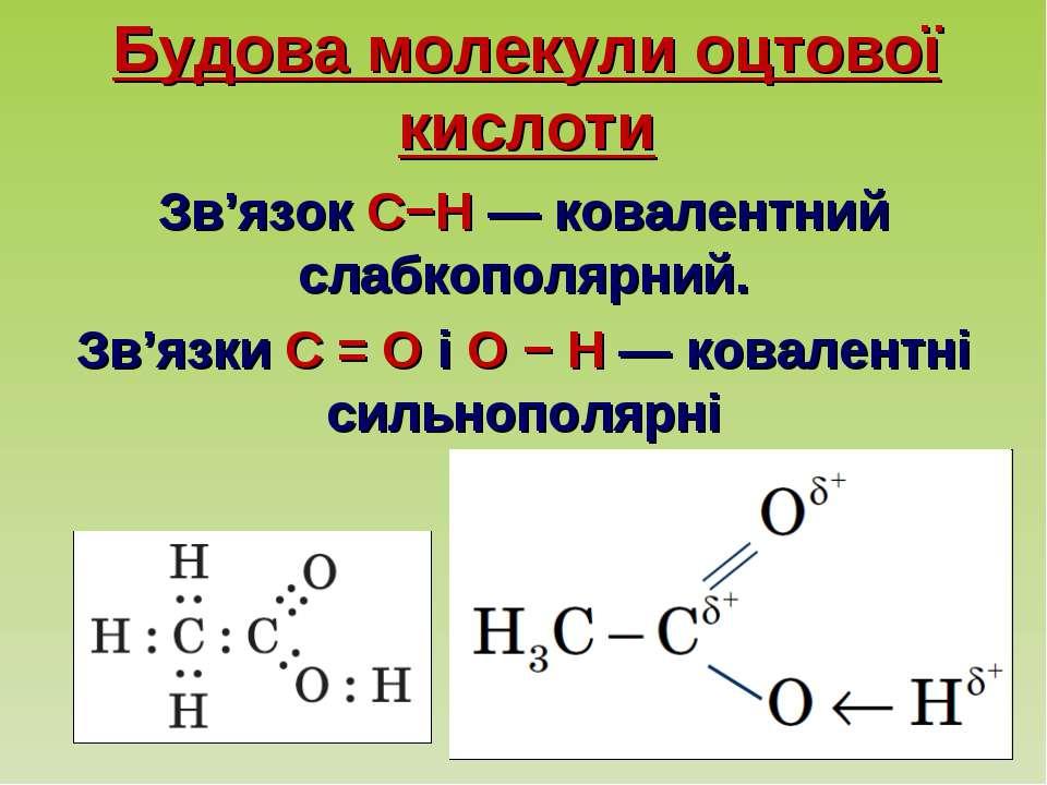 Будова молекули оцтової кислоти Зв'язок C−H — ковалентний слабкополярний. Зв'...