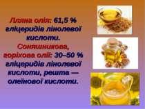 Лляна олія: 61,5 % гліцеридів лінолевої кислоти. Соняшникова, горіхова олії: ...