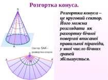 Розгортка конуса – це круговий сектор. Його можна розглядати як разгортку біч...