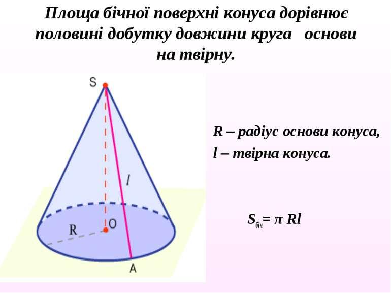 R – радіус основи конуса, l – твірна конуса. Sбіч= π Rl