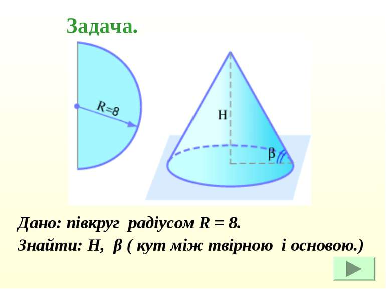 Дано: півкруг радіусом R = 8. Дано: півкруг радіусом R = 8. Знайти: Н, β ( ку...