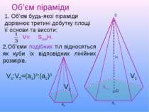 Об'єм піраміди S Н О 1. Об'єм будь-якої піраміди дорівнює третині добутку пло...