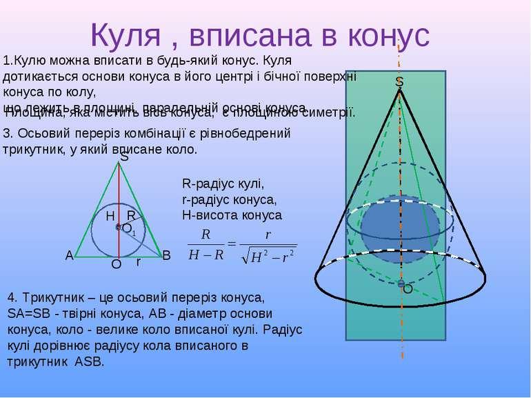 Куля , вписана в конус S O 2. Площина, яка містить вісь конуса, є площиною си...