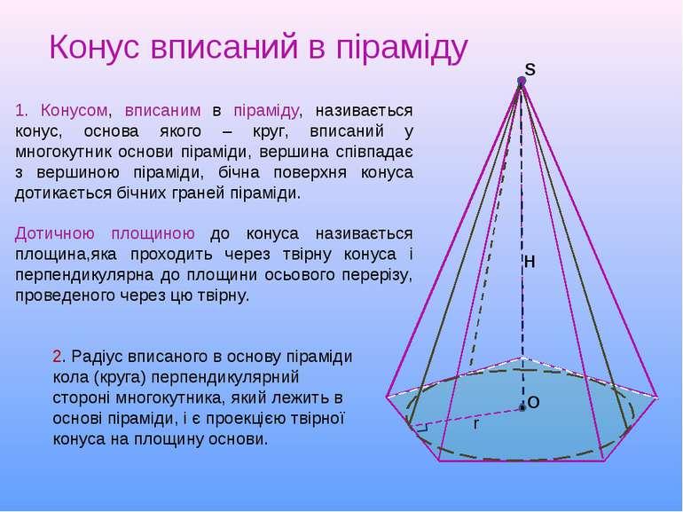 2. Радіус вписаного в основу піраміди кола (круга) перпендикулярний стороні м...
