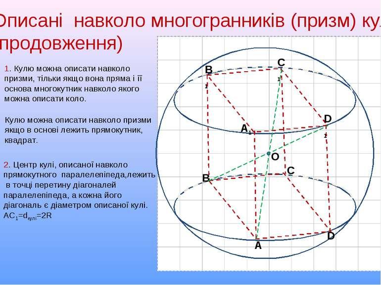 Описані навколо многогранників (призм) кулі (продовження) D A C B A1 C1 D1 B1...