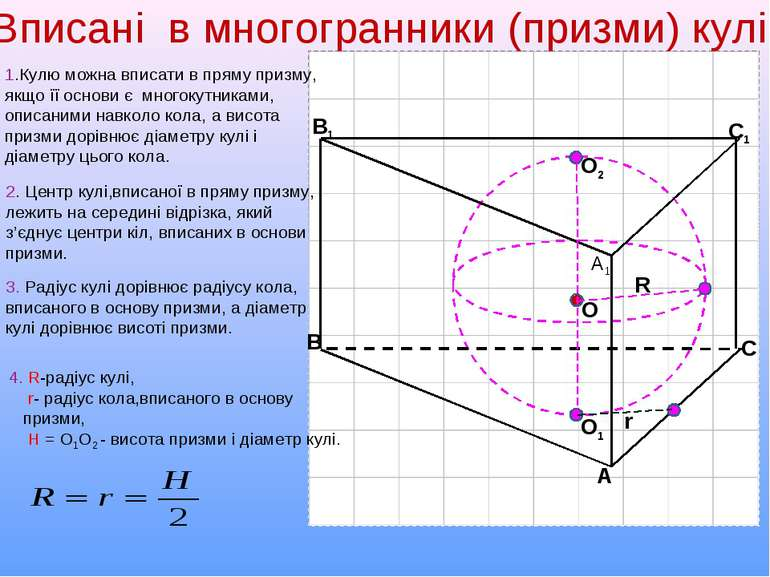 С1 В1 А1 А В С 1.Кулю можна вписати в пряму призму, якщо її основи є многокут...