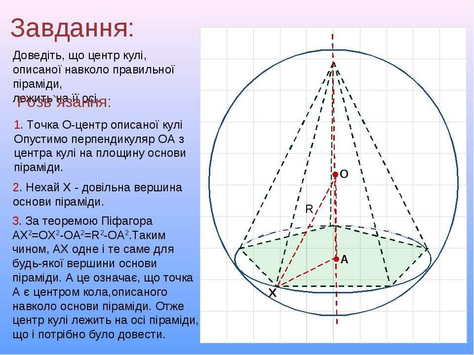 Завдання: Доведіть, що центр кулі, описаної навколо правильної піраміди, лежи...
