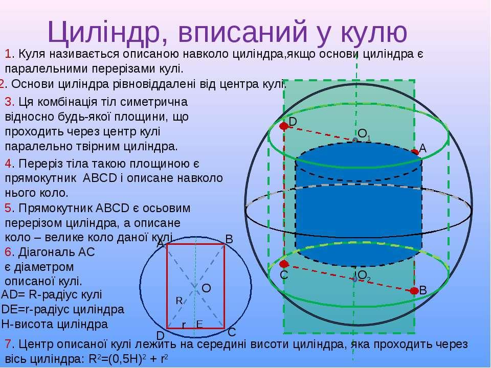 Циліндр, вписаний у кулю 2. Основи циліндра рівновіддалені від центра кулі. О...