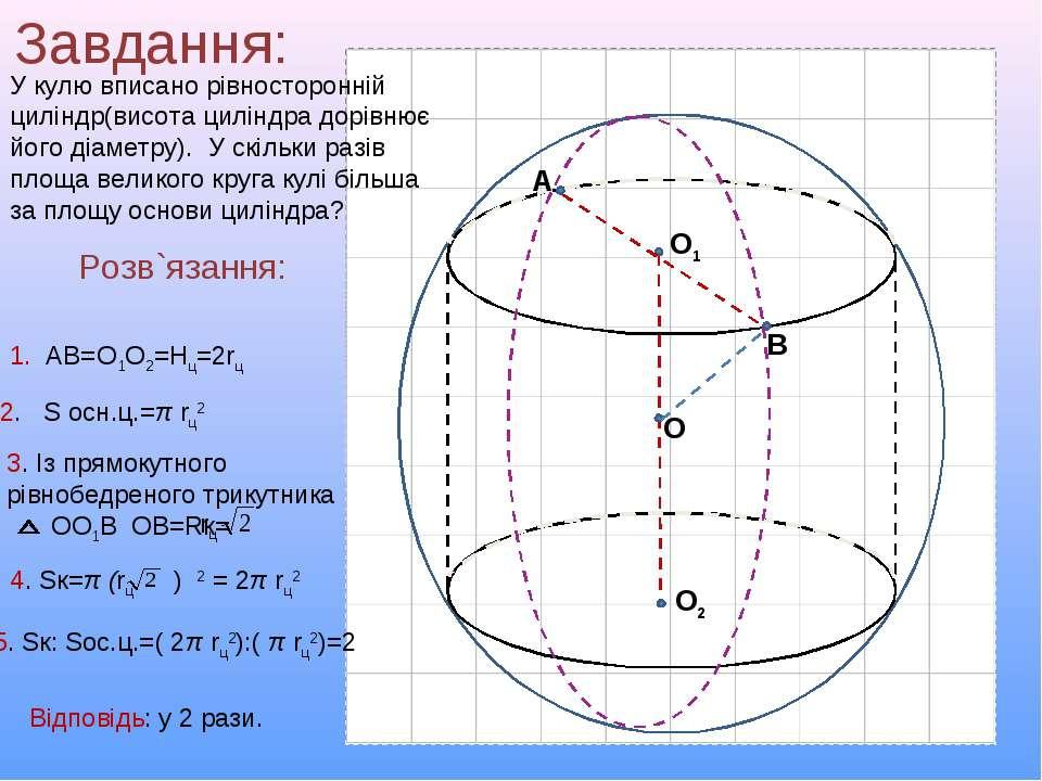 Завдання: У кулю вписано рівносторонній циліндр(висота циліндра дорівнює його...